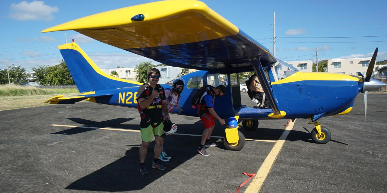 Fun jumpers loading in the La Zona Puerto Rico Skydiving aircraft