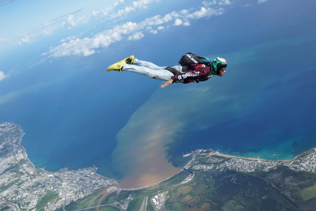 Experienced jumper enjoying free fall at La Zona Puerto Rico Skydiving center